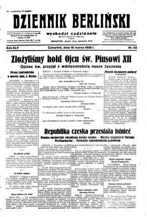 Dziennik Berliński vom 16.03.1939
