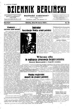 Dziennik Berliński vom 18.03.1939
