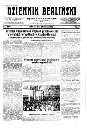 Dziennik Berliński vom 21.03.1939