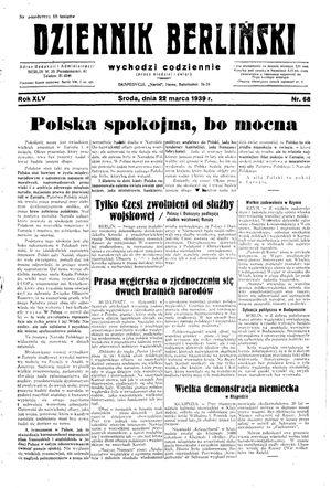 Dziennik Berliński vom 22.03.1939