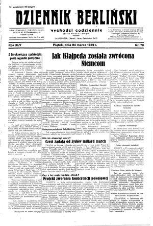 Dziennik Berliński vom 24.03.1939