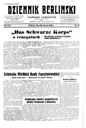 Dziennik Berliński on Mar 25, 1939
