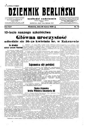 Dziennik Berliński vom 26.03.1939