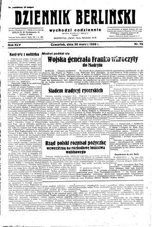 Dziennik Berliński vom 30.03.1939