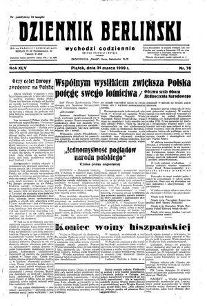 Dziennik Berliński vom 31.03.1939