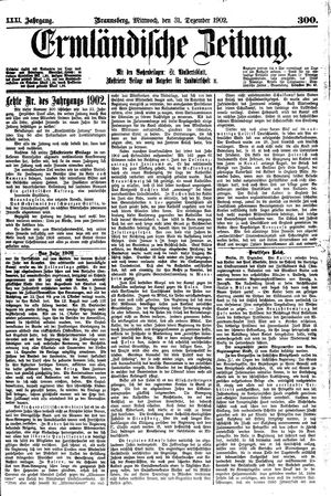 Ermländische Zeitung vom 31.12.1902