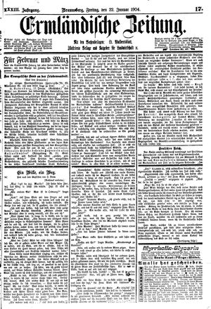 Ermländische Zeitung vom 22.01.1904