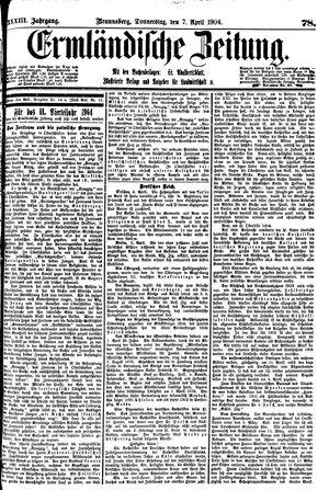 Ermländische Zeitung vom 07.04.1904