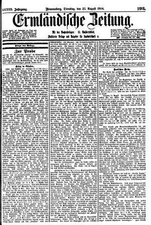 Ermländische Zeitung vom 23.08.1904