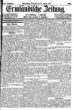 Ermländische Zeitung vom 24.08.1904