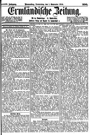 Ermländische Zeitung vom 01.09.1904