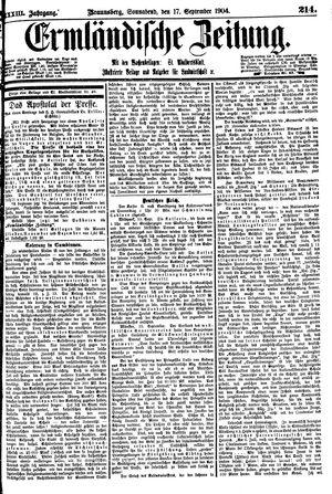Ermländische Zeitung vom 17.09.1904