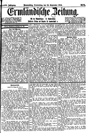 Ermländische Zeitung vom 22.09.1904