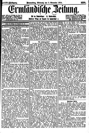 Ermländische Zeitung vom 09.11.1904