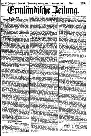 Ermländische Zeitung vom 27.11.1904