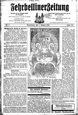 Fehrbelliner Zeitung vom 01.01.1925