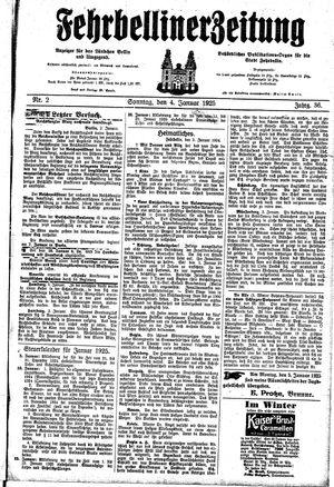 Fehrbelliner Zeitung vom 04.01.1925