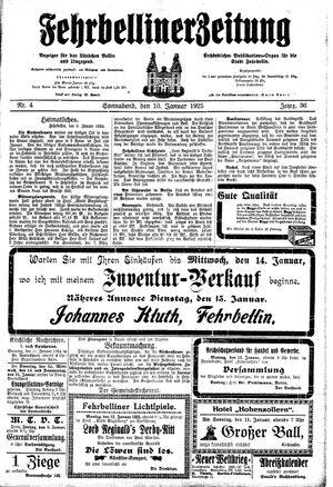 Fehrbelliner Zeitung vom 10.01.1925