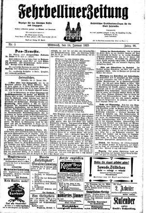 Fehrbelliner Zeitung vom 14.01.1925