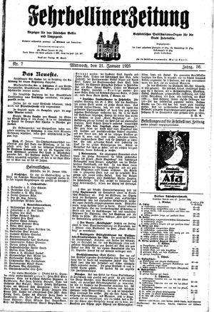 Fehrbelliner Zeitung vom 21.01.1925