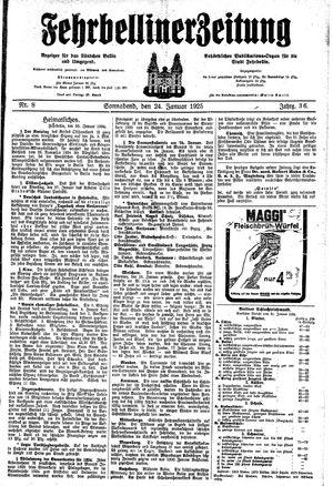 Fehrbelliner Zeitung vom 24.01.1925