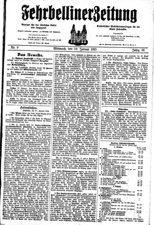 Fehrbelliner Zeitung vom 28.01.1925