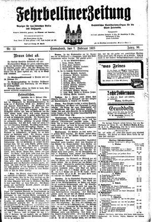 Fehrbelliner Zeitung vom 07.02.1925
