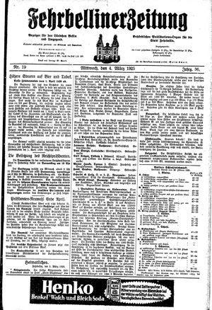 Fehrbelliner Zeitung on Mar 4, 1925