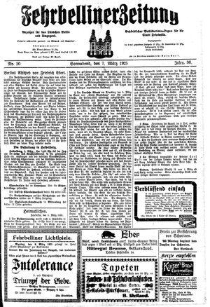 Fehrbelliner Zeitung vom 07.03.1925