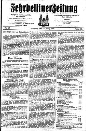 Fehrbelliner Zeitung vom 18.03.1925