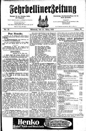 Fehrbelliner Zeitung vom 25.03.1925