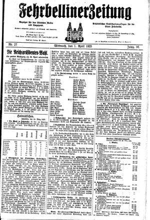 Fehrbelliner Zeitung vom 01.04.1925