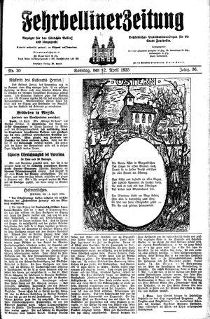 Fehrbelliner Zeitung vom 12.04.1925