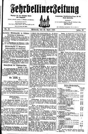 Fehrbelliner Zeitung vom 22.04.1925