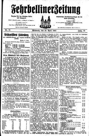 Fehrbelliner Zeitung vom 29.04.1925