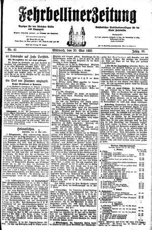 Fehrbelliner Zeitung on May 20, 1925