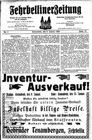 Fehrbelliner Zeitung vom 09.01.1926