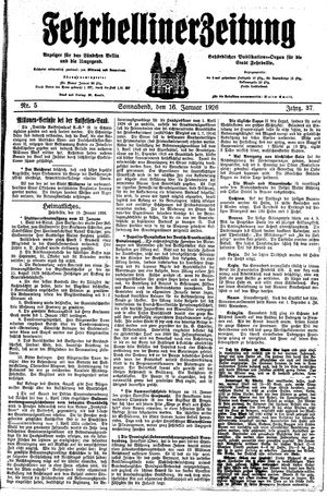 Fehrbelliner Zeitung on Jan 16, 1926
