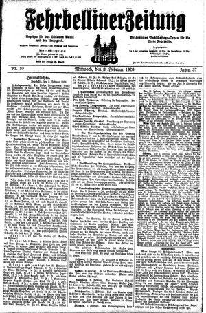 Fehrbelliner Zeitung vom 03.02.1926