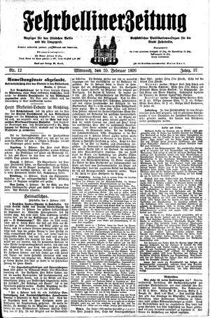 Fehrbelliner Zeitung vom 10.02.1926