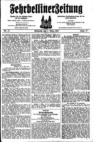 Fehrbelliner Zeitung vom 03.03.1926