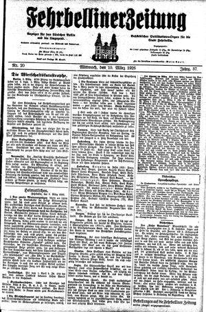 Fehrbelliner Zeitung vom 10.03.1926