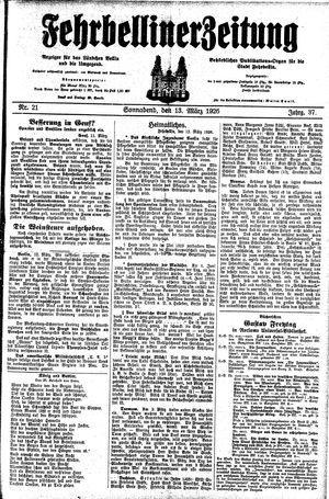 Fehrbelliner Zeitung vom 13.03.1926