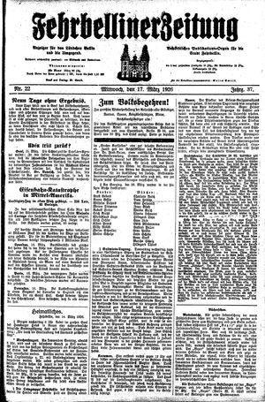 Fehrbelliner Zeitung vom 17.03.1926