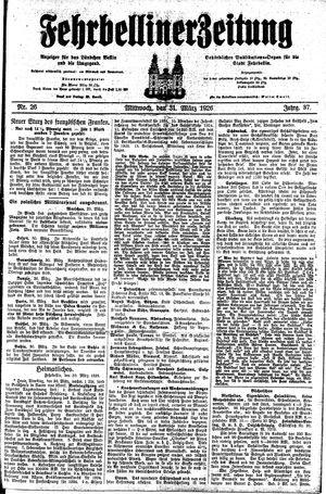 Fehrbelliner Zeitung vom 31.03.1926