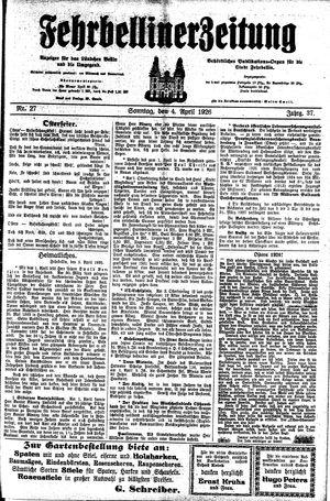 Fehrbelliner Zeitung vom 04.04.1926