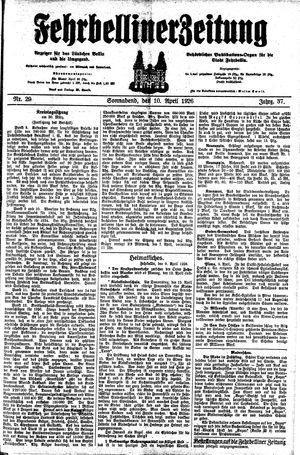 Fehrbelliner Zeitung vom 10.04.1926