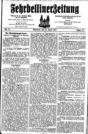 Fehrbelliner Zeitung vom 14.04.1926