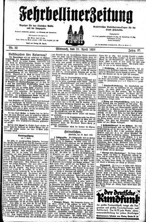 Fehrbelliner Zeitung vom 21.04.1926