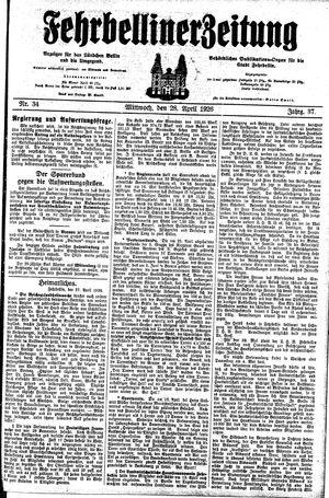 Fehrbelliner Zeitung vom 28.04.1926
